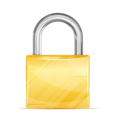 Golden padlock icon vector