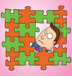Man in puzzle vector