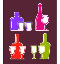 Colorful set with alcohol bottles and glasses vector
