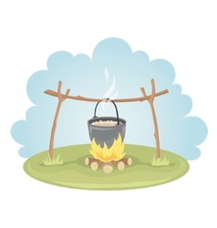Pot with food on fire vector