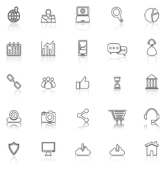 Seo line icons with reflect on white vector