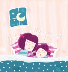 Sleeping mother and child vector