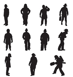 Firefighter silhouettes vector