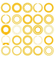 Set yellow laurel wreath on the white background vector