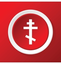 Orthodox cross icon on red vector