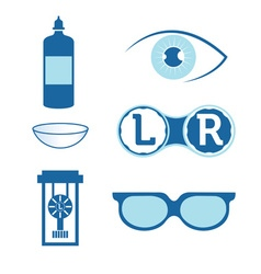 Eye contact lenses elements and glasses vector