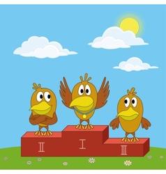 Birds sportsmans on pedestal vector