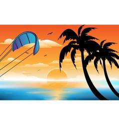 Sunset beach vector