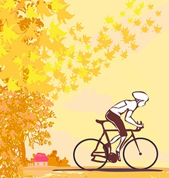 Outdoor autumn bike riding vector