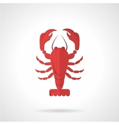 Red crawfish flat color icon vector