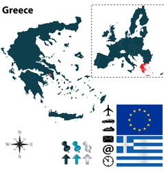 Greece and european union map vector