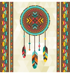 Ethnic background with dreamcatcher in navajo vector