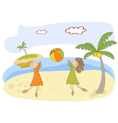 Two girls play on the beach vector