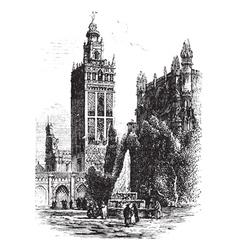 Seville cathedral vintage engraving vector