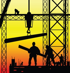 Construction worker at work and dusk vector