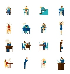 Frustration people flat icon set vector