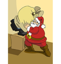 Xmas e-commerce series santa trying to send the vector