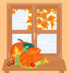 Window and celebratory food healthy food vector