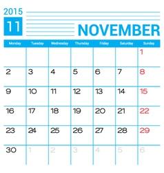 November 2015 calendar page template vector