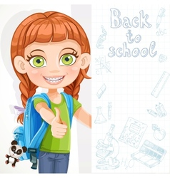Cute little girl student with a big banner vector