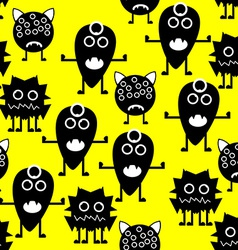 Seamless pattern white and black monsters on vector