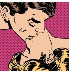 Man woman kiss love relationship romance vector