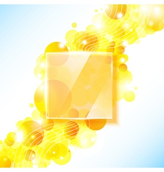 Shiny yellow geometric background with glass panel vector