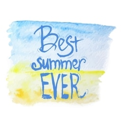 Watercolor best summer lettering on blue vector