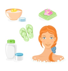 Bath and body care icon set vector