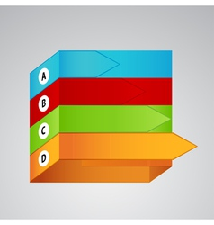 Four different color labels with arrows vector