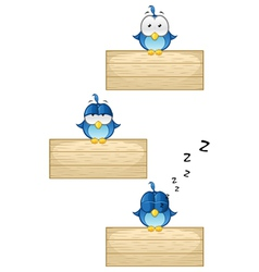 Cute blue birds on wooden sign set 1 vector