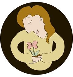 Caucasian woman holding flower carefully vector