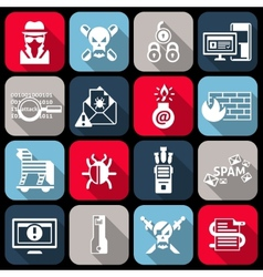 Hacker icons set flat vector