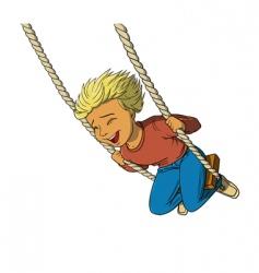 Boy on swing vector