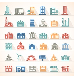 Flat icons buildings vector