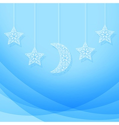 Hanging moon and stars vector