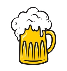 Overflowing tankard of frothy beer vector