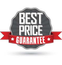 Best price guarantee retro label with red ribbon vector