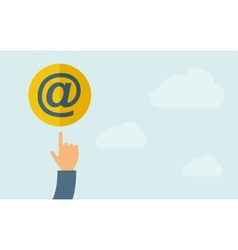 Hand pointing to email icon vector