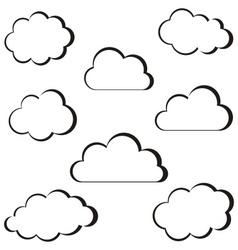 Black clouds outline vector