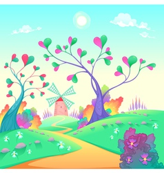 Springy landscape with windmill vector