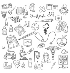 Health care and medicine doodle vector