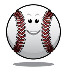 Happy white cartoon baseball ball vector