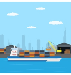 Farry boat loading vector