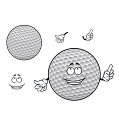 Smiling cartoon dimpled white golf ball character vector