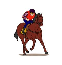 Horse and jockey retro vector