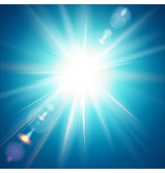 The bright sun shines on a blue sky background vector
