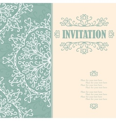 Vintage invitation card with lace ornament vector