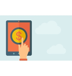 Touch screen tablet with the dollar icon vector