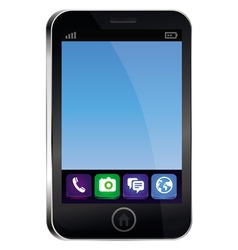 Mobile phone with empty blue screen and bright ico vector